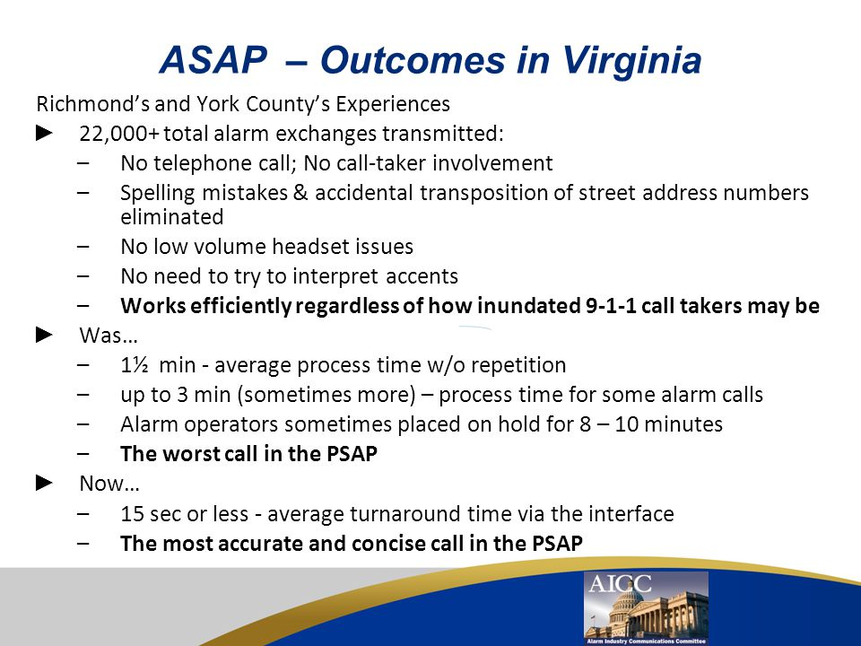 ASAP – Outcomes in Virginia