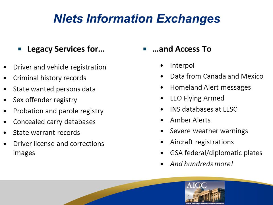 Nlets Information Exchanges