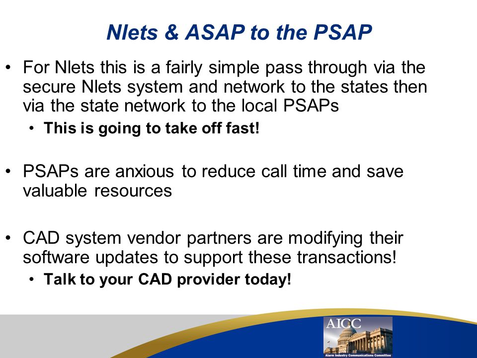 Nlets & ASAP to the PSAP