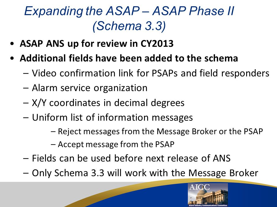 Expanding the ASAP – ASAP Phase II (Schema 3.3)