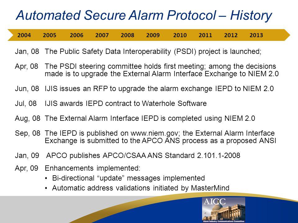 Automated Secure Alarm Protocol – History