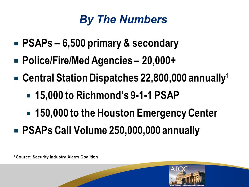 PSAPs – 6,500 primary & secondary Police/Fire/Med Agencies – 20,000+