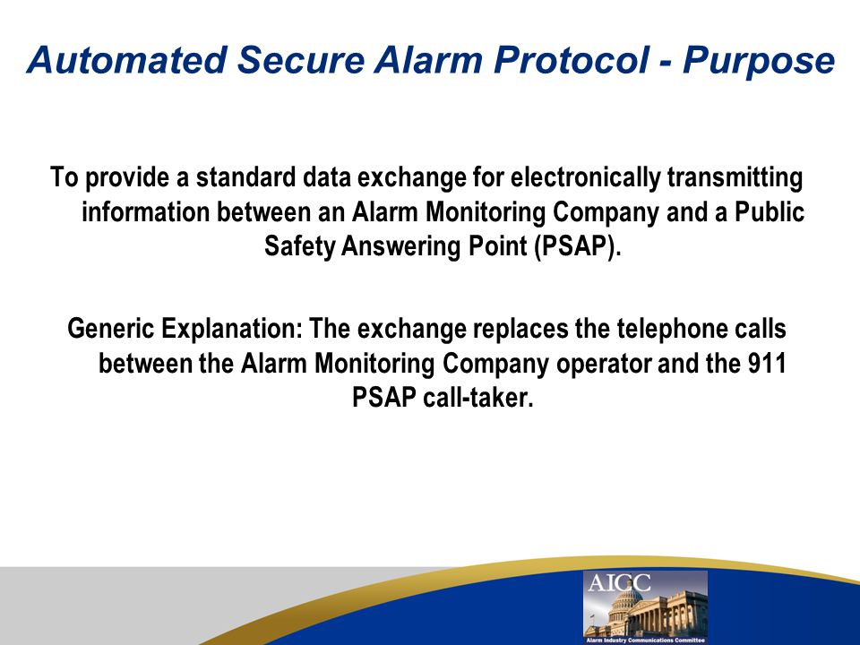 Automated Secure Alarm Protocol - Purpose