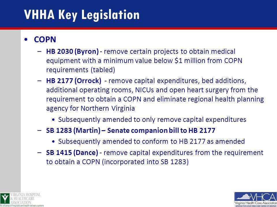 VHHA Key Legislation COPN