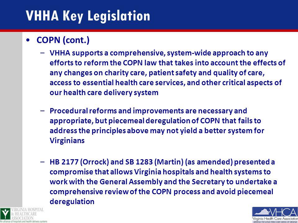 VHHA Key Legislation COPN (cont.)