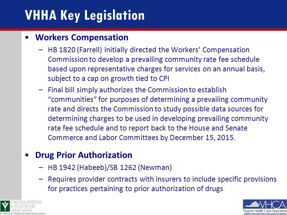 VHHA Key Legislation Workers Compensation Drug Prior Authorization