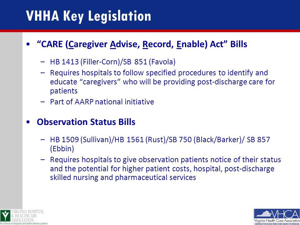 VHHA Key Legislation CARE (Caregiver Advise, Record, Enable) Act Bills. HB 1413 (Filler-Corn)/SB 851 (Favola)
