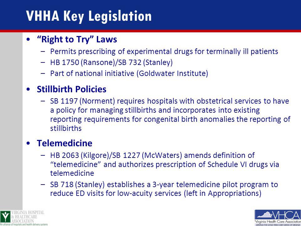 VHHA Key Legislation Right to Try Laws Stillbirth Policies