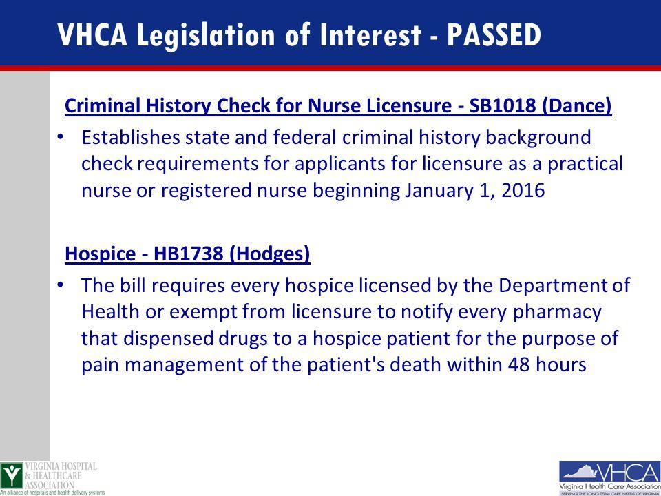 VHCA Legislation of Interest - PASSED