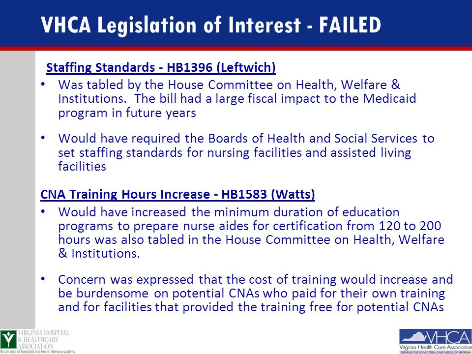 VHCA Legislation of Interest - FAILED
