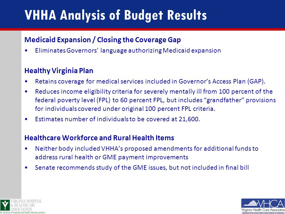 VHHA Analysis of Budget Results