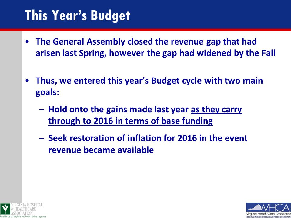 This Year's Budget The General Assembly closed the revenue gap that had arisen last Spring, however the gap had widened by the Fall.