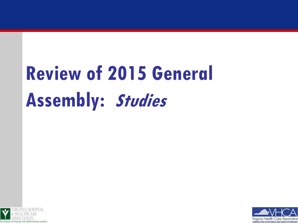 Review of 2015 General Assembly: Studies