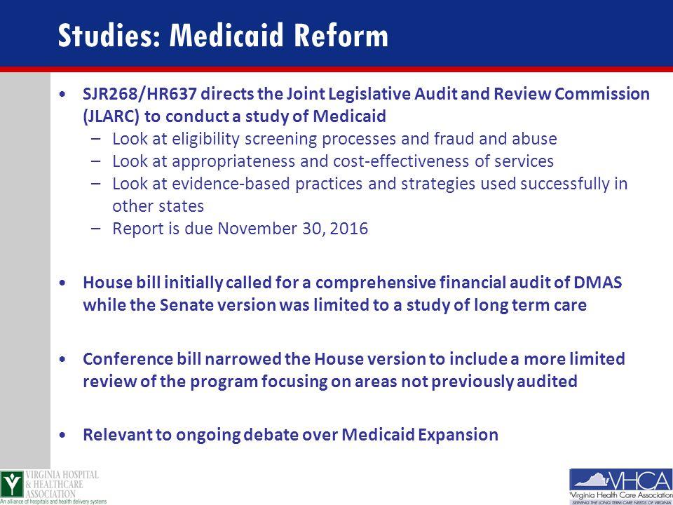 Studies: Medicaid Reform