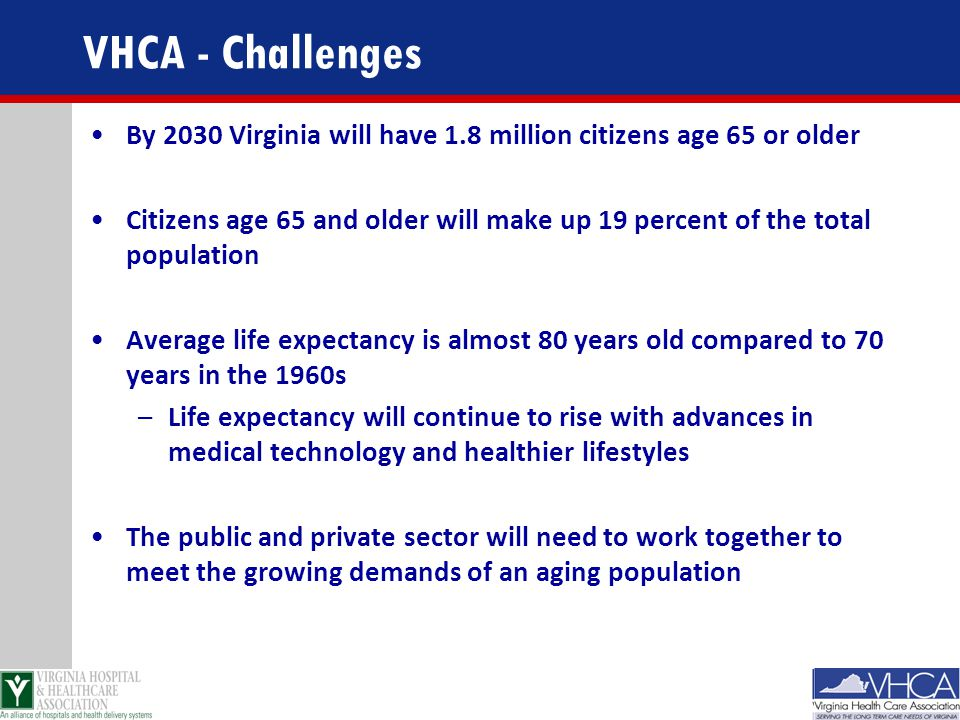 VHCA - Challenges By 2030 Virginia will have 1.8 million citizens age 65 or older.