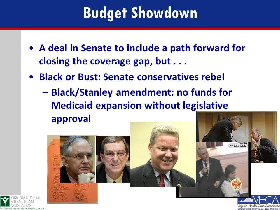 Budget Showdown A deal in Senate to include a path forward for closing the coverage gap, but . . . Black or Bust: Senate conservatives rebel.