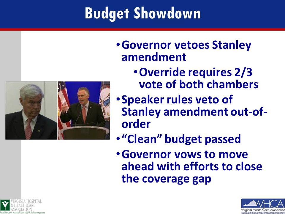 Budget Showdown Governor vetoes Stanley amendment