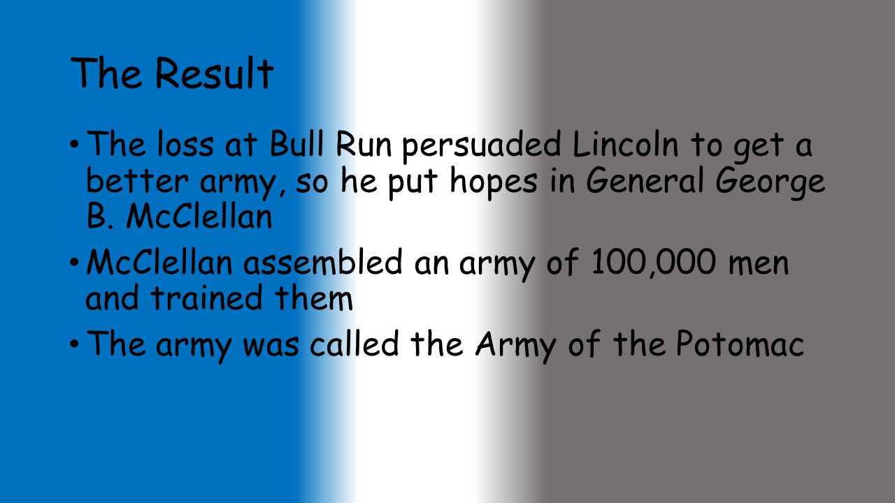The Result The loss at Bull Run persuaded Lincoln to get a better army, so he put hopes in General George B. McClellan.