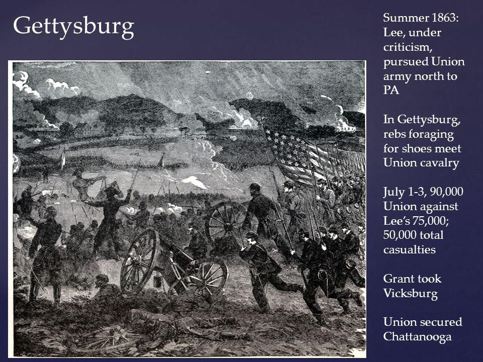 Gettysburg Summer 1863: Lee, under criticism, pursued Union army north to PA. In Gettysburg, rebs foraging for shoes meet Union cavalry.