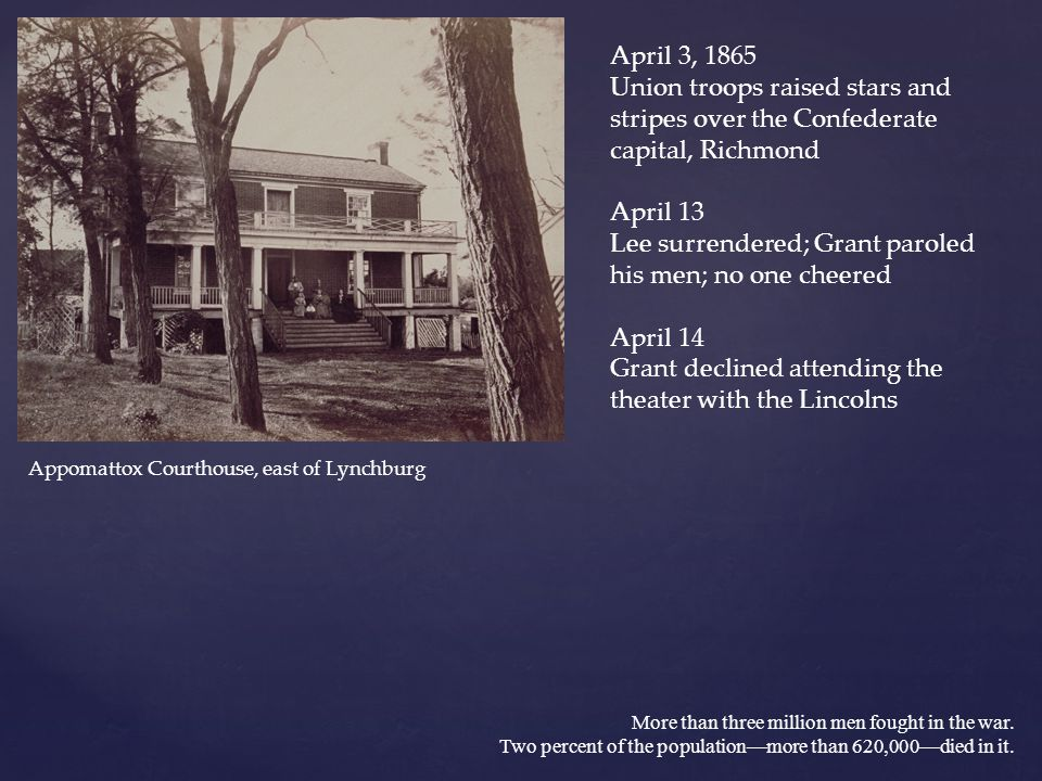 April 13 Lee surrendered; Grant paroled his men; no one cheered