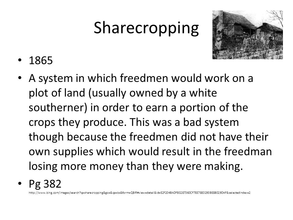 Sharecropping 1865.