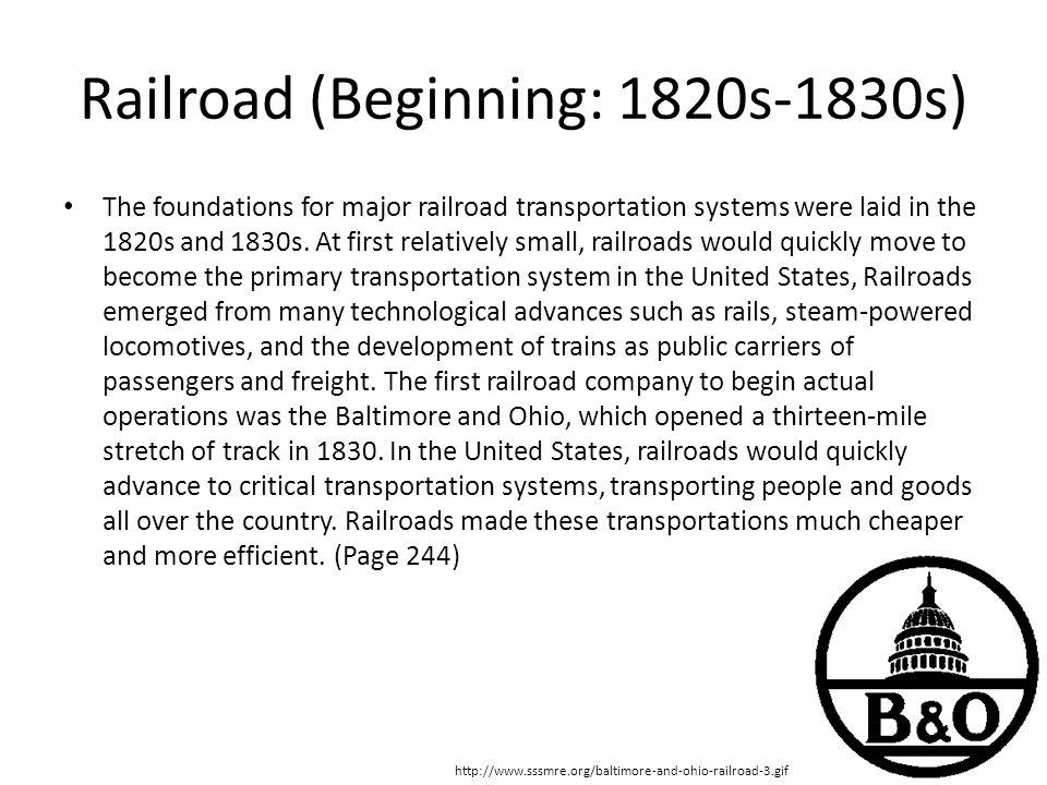 Railroad (Beginning: 1820s-1830s)