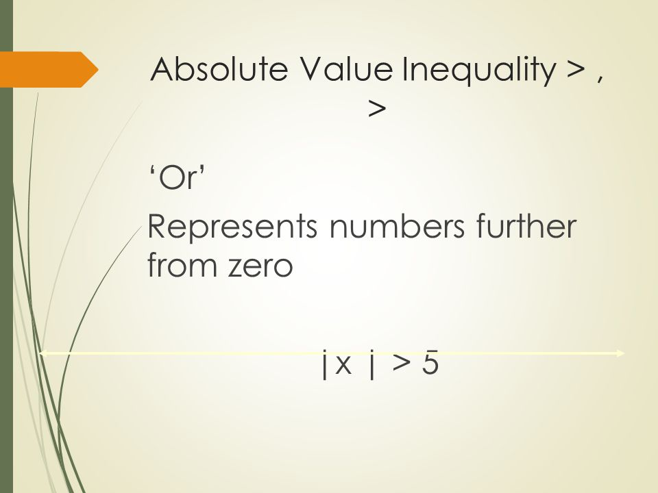 Absolute Value Inequality > , >