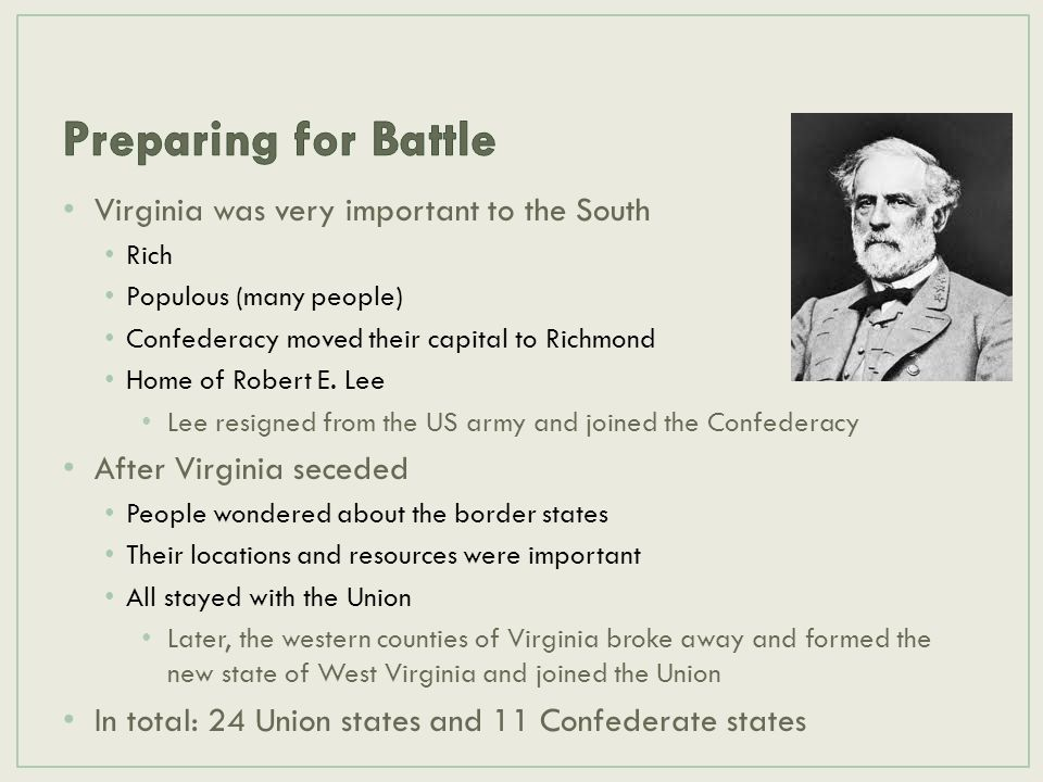Preparing for Battle Virginia was very important to the South