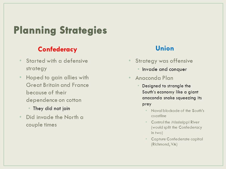 Planning Strategies Union Confederacy