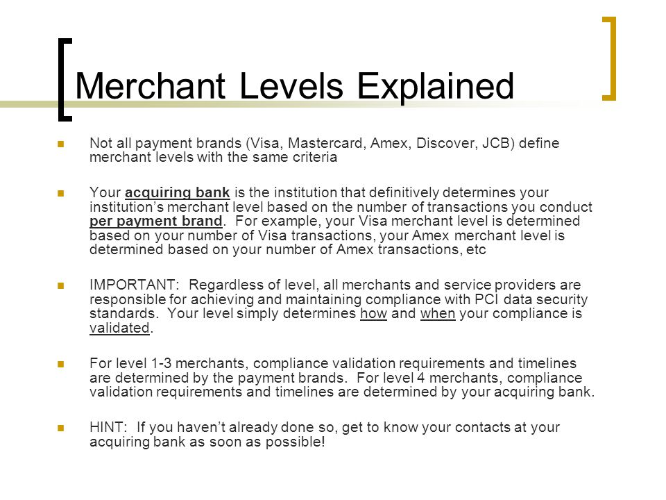 Merchant Levels Explained