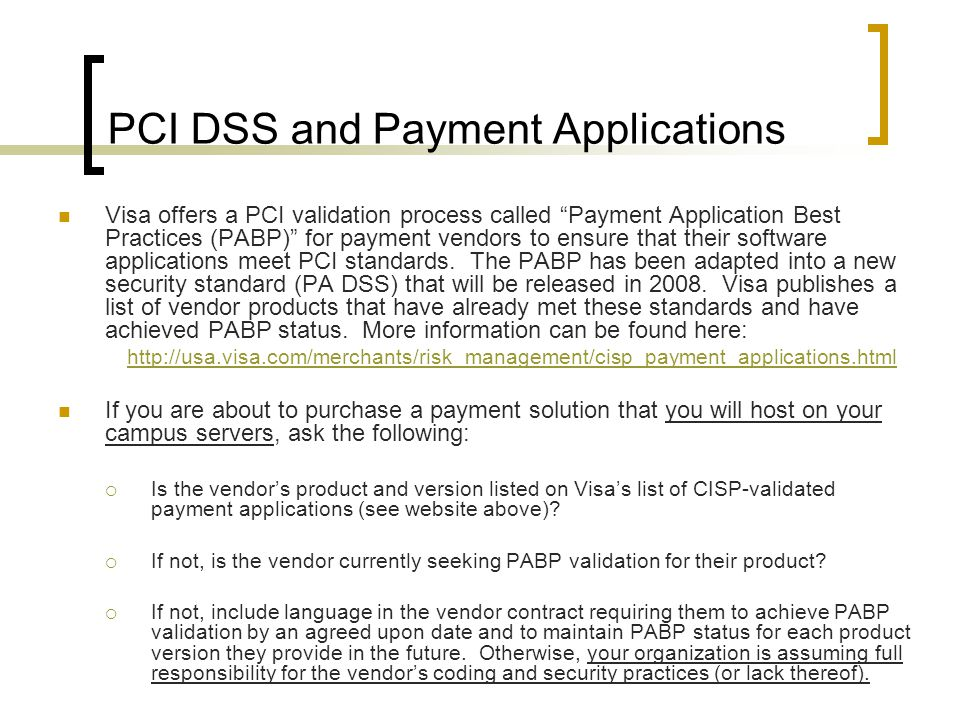 PCI DSS and Payment Applications