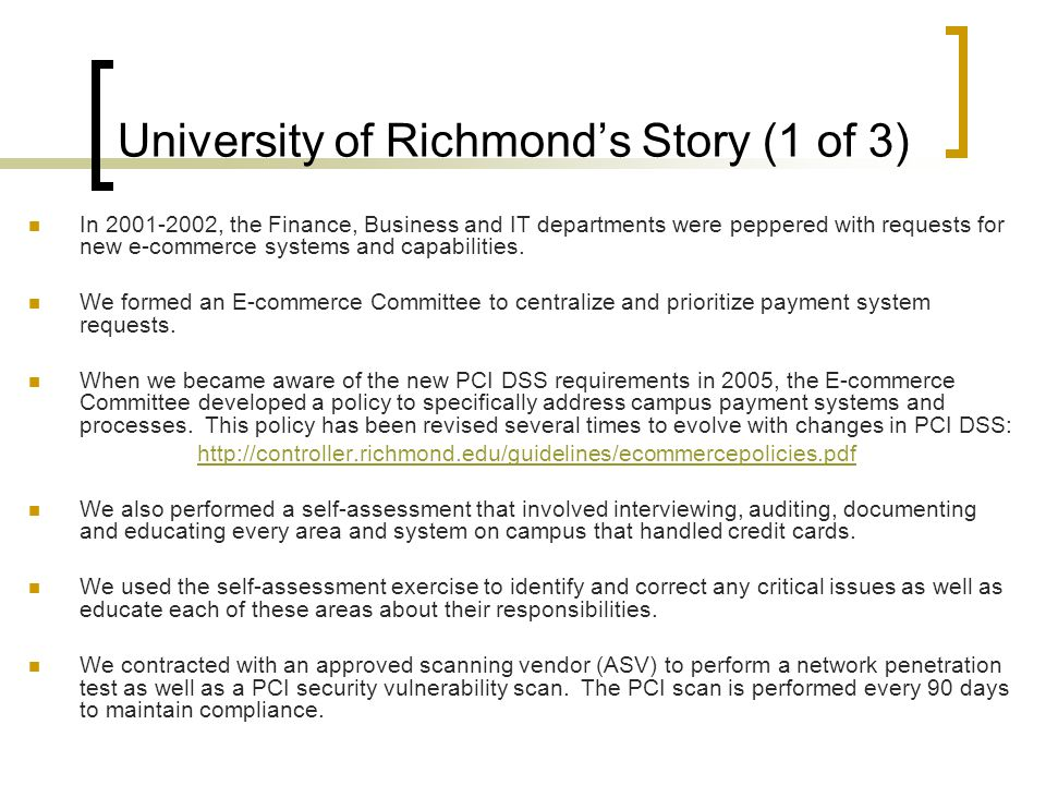 University of Richmond's Story (1 of 3)