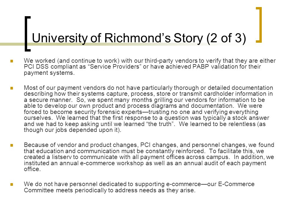 University of Richmond's Story (2 of 3)