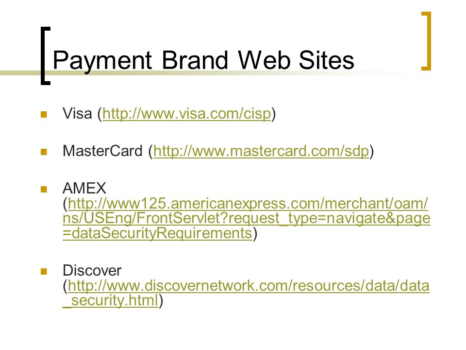 Payment Brand Web Sites