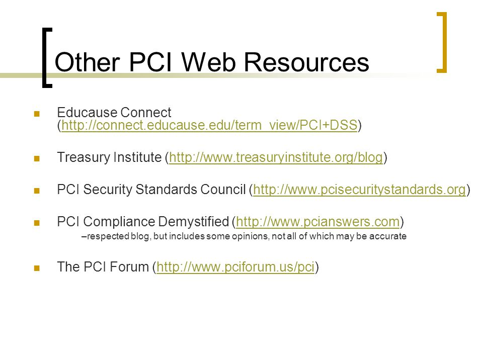 Other PCI Web Resources