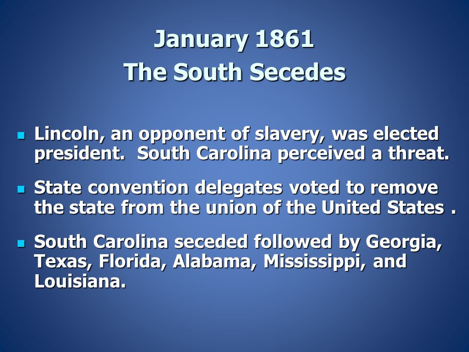 January 1861 The South Secedes