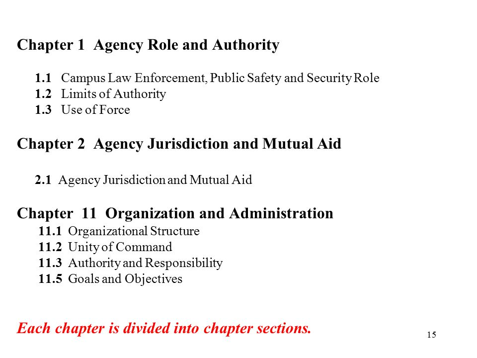 Chapter 1 Agency Role and Authority