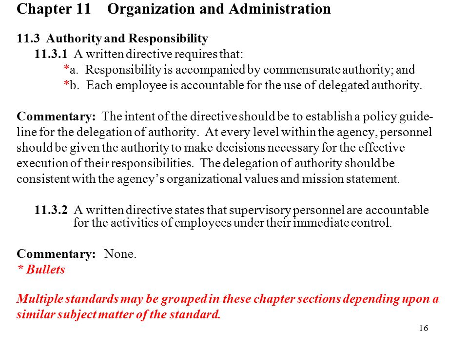 Chapter 11 Organization and Administration