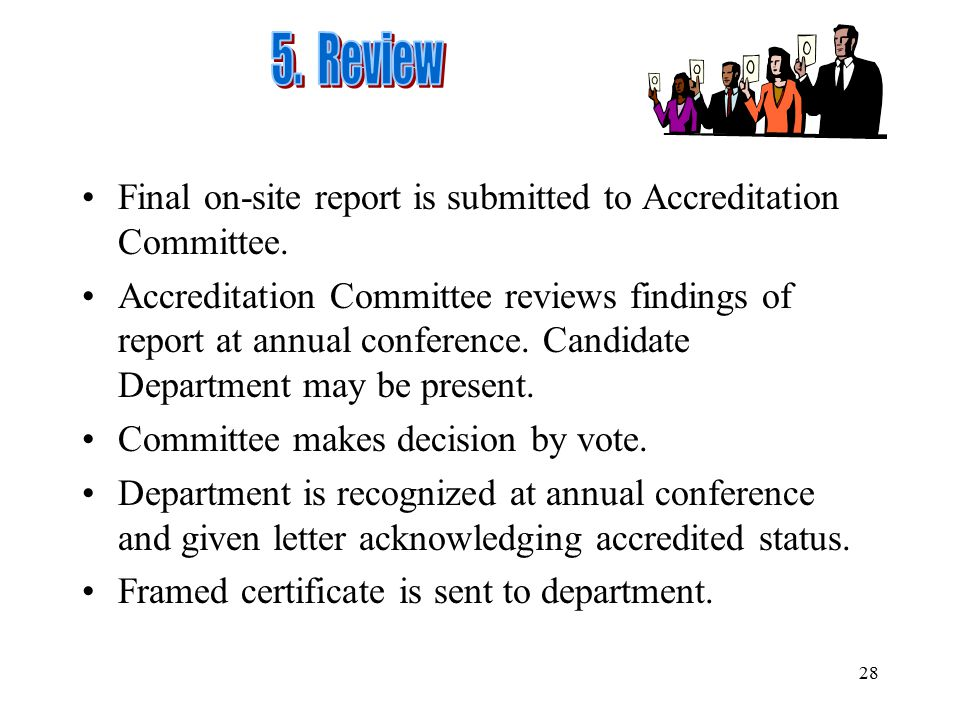 5. Review Final on-site report is submitted to Accreditation Committee.