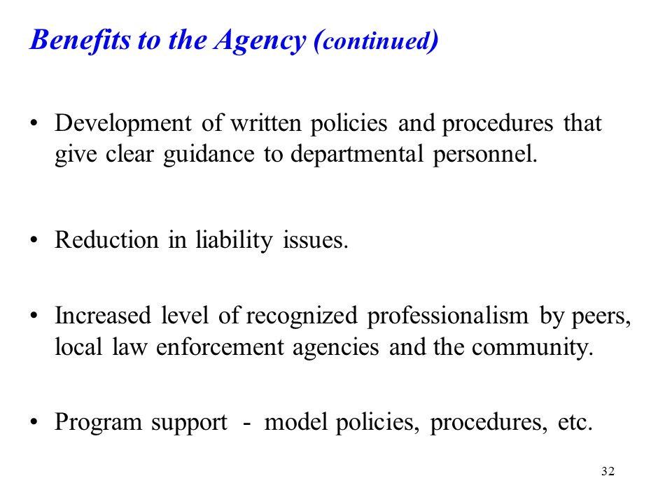 Benefits to the Agency (continued)