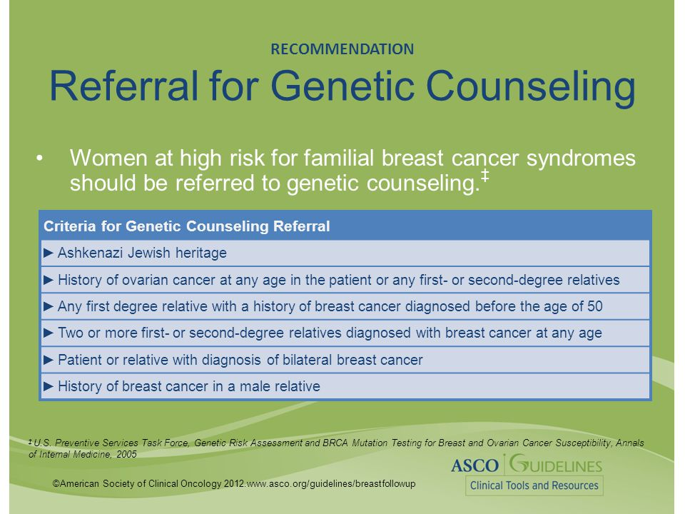 RECOMMENDATION Referral for Genetic Counseling