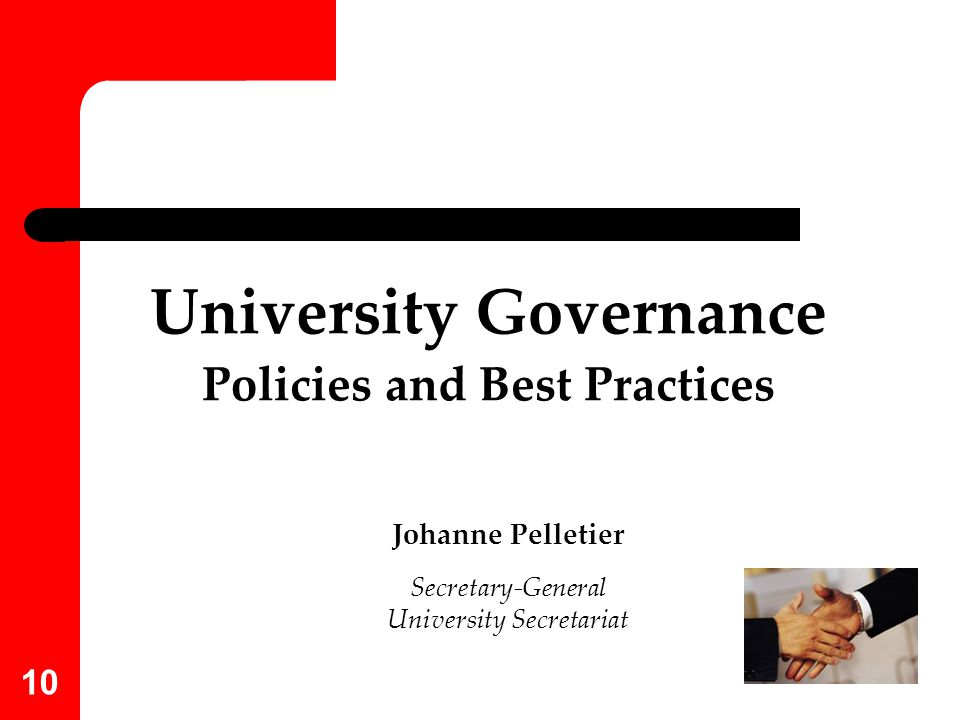 University Governance Policies and Best Practices