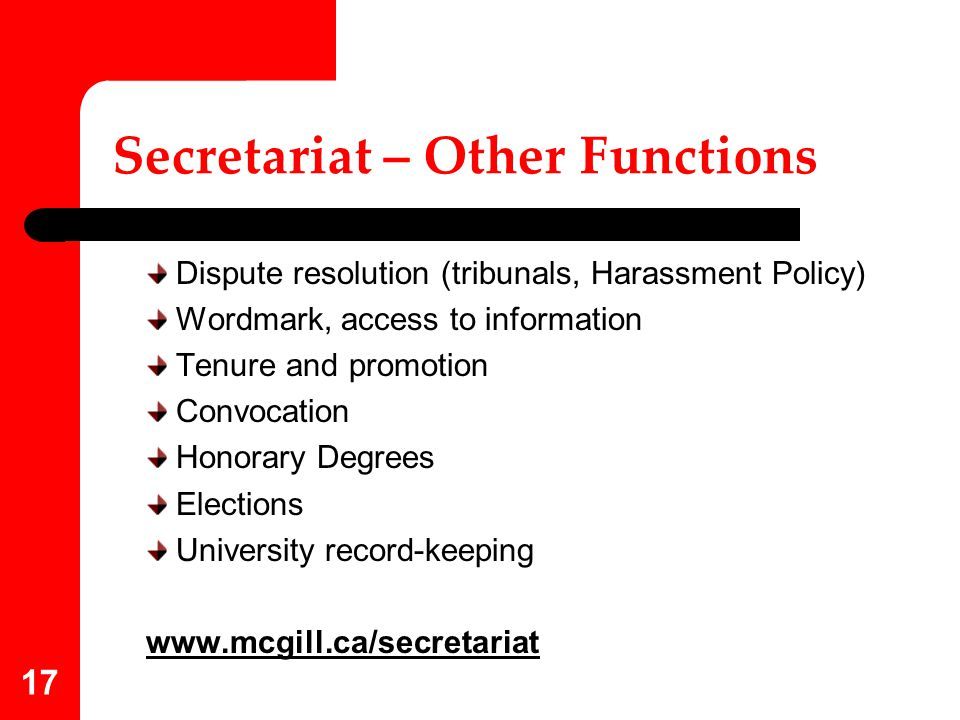 Secretariat – Other Functions