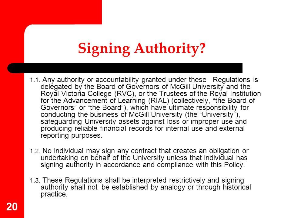Signing Authority