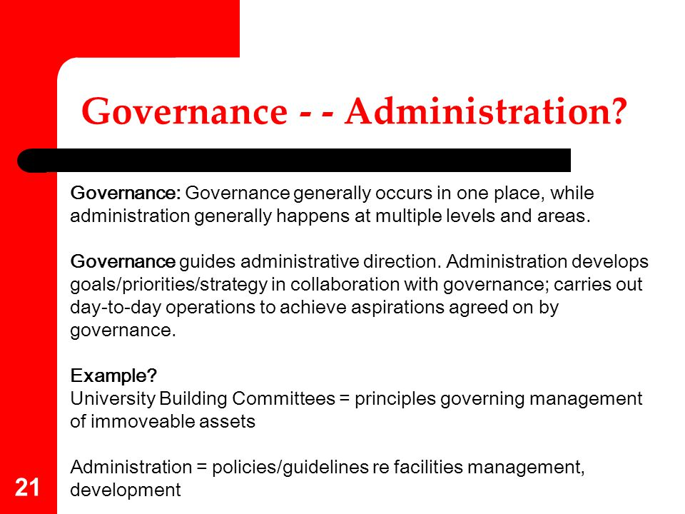 Governance - - Administration