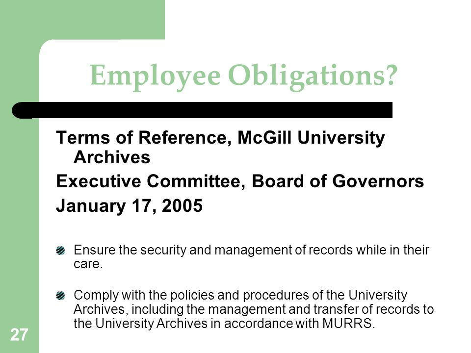 Employee Obligations Terms of Reference, McGill University Archives