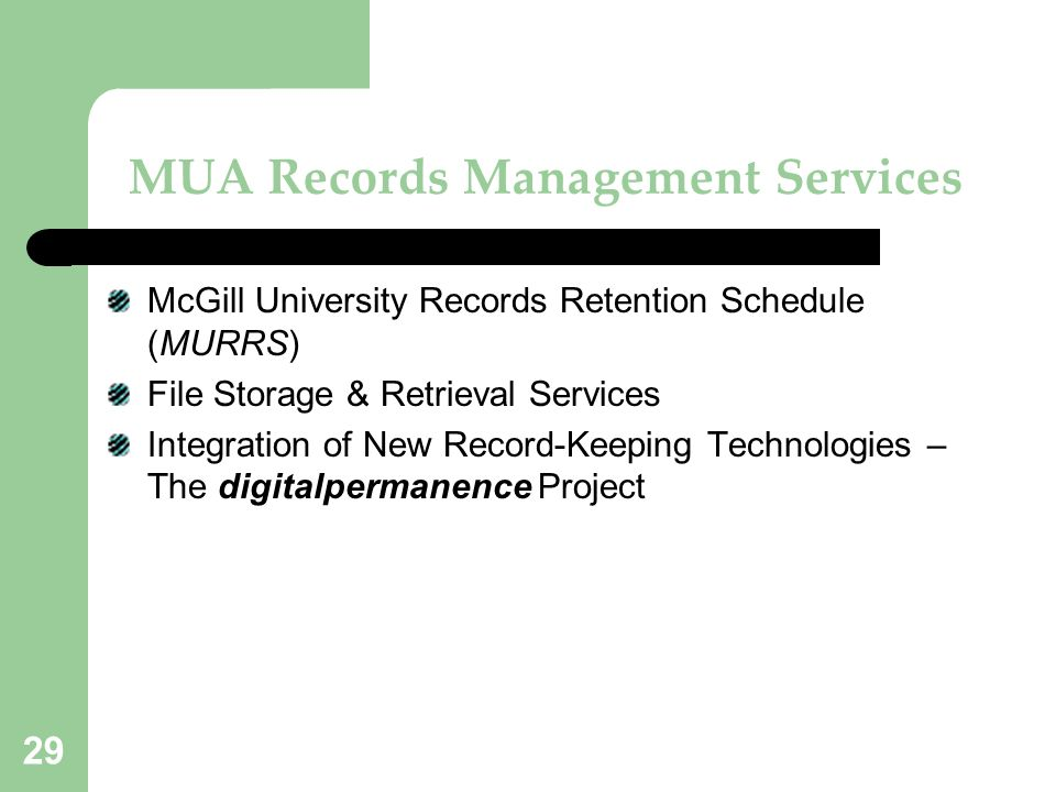 MUA Records Management Services