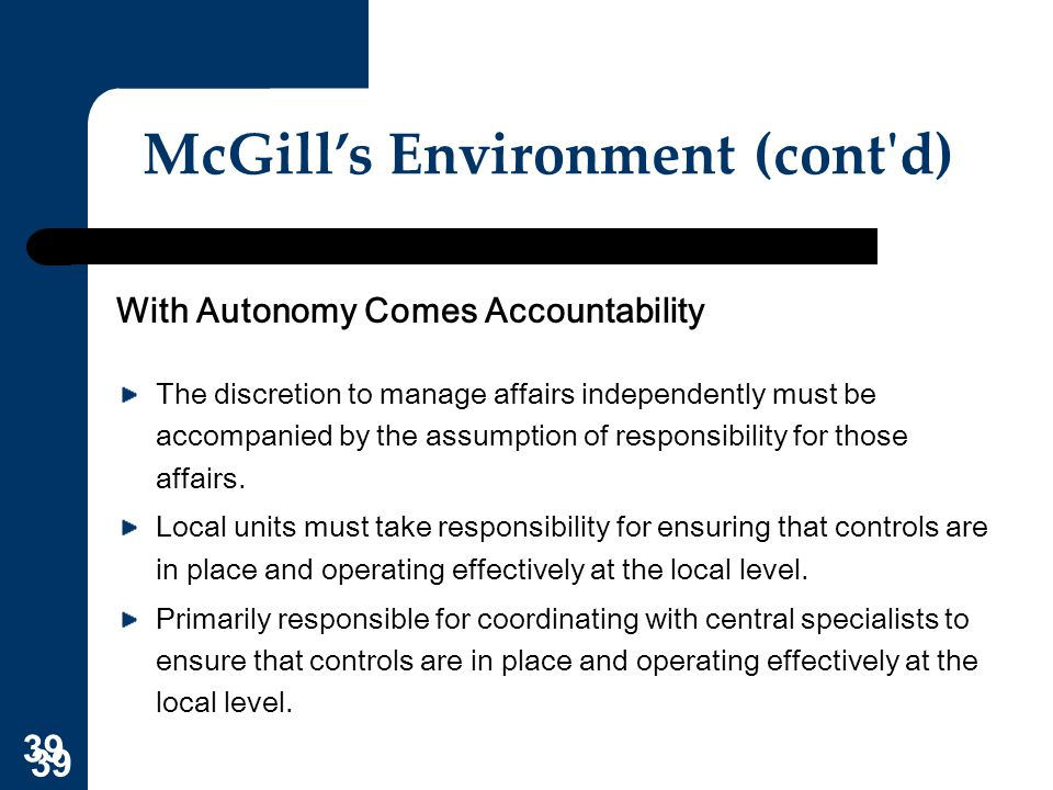 McGill's Environment (cont d)
