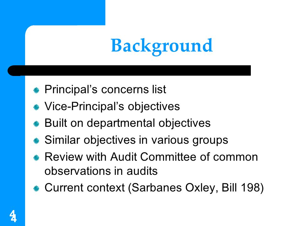 Background Principal's concerns list Vice-Principal's objectives