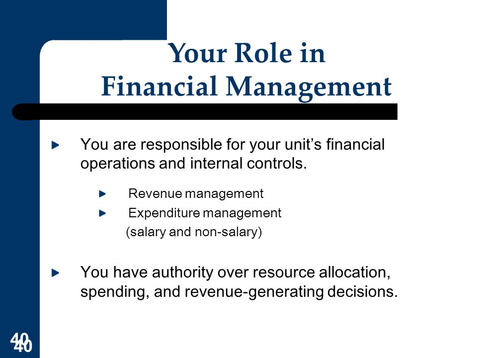 Your Role in Financial Management